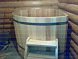 Угловая купель из кедра. Размеры: 1100х1100х1200 мм, фото 3