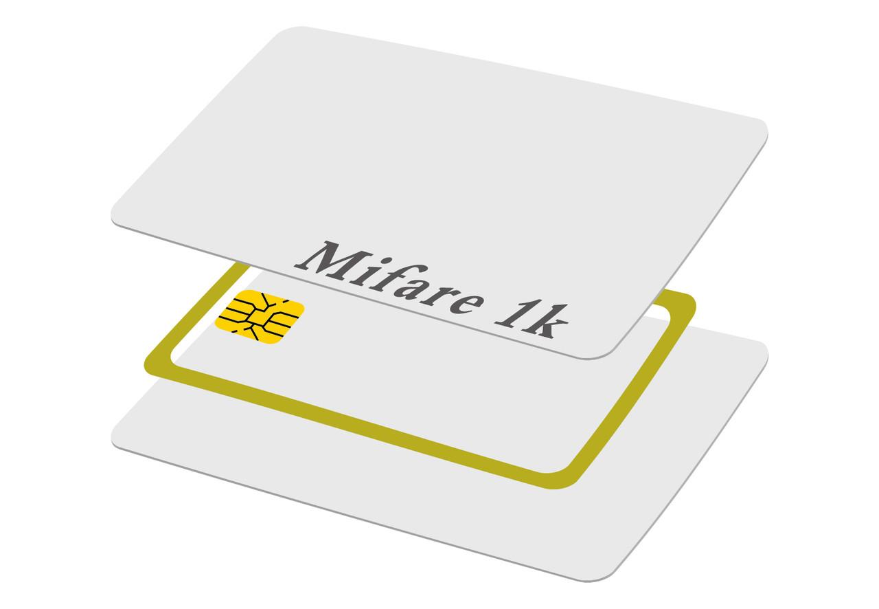 Карта Mifare 1K, белая, 0,76мм толщиной, под печать
