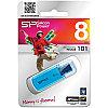 Память SiliconPower USB Flash   8GB USB2.0 Helios 101 голубой (металл.корпус)