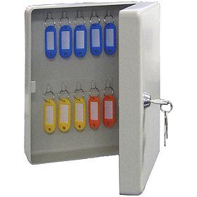 Ключница KB-20 на 20 ключей, 250*180*80, ключевой замок, металл, серый, с брелоками