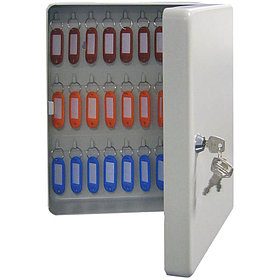 Ключница KB-50 на 50 ключей, 300*230*90, ключевой замок, металл, серый, с брелоками
