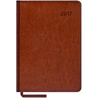 """Ежедневник датированный 2017г., А5, 176л., кожзам, """"Sarif"""", коричневый"""