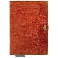 Ежедневник недатированный А5 160л., кожа, коричневый, с кнопкой (мет.углы)