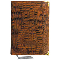Ежедневник недатированный А6 160л., кожа, коричневый (мет.углы)