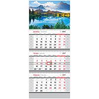 "Календарь кварт. 3 бл. на 3-х гр. ""Standard"" - Горное озеро, с бегунком, 2017 г."