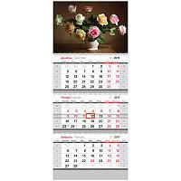 "Календарь кварт. 3 бл. на 3-х гр. ""Standard"" - Розы, с бегунком, 2017 г."