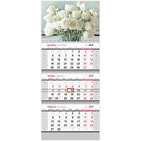 "Календарь кварт. 3 бл. на 3-х гр. ""Standard"" - Цветы, с бегунком, 2017 г."