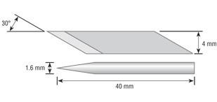 Лезвия OLFA специальнные, для для ножа OL-AK-5, в боксе-подставке,  игла 1,6мм, 4мм/30шт