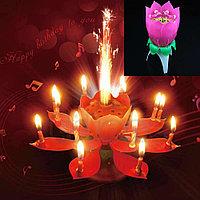 Музыкальная свеча фейверк в виде лотуса для торта большая