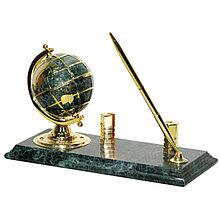 Подставка под ручку с глобусом, часами и держателем для визиток, зеленый мрамор