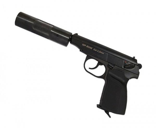 Пистолет пневм. МР-654К-22 с фальшглушителем обн. ручка