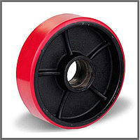 Колесо рулевое полиуретан/сталь (200*50*50). Для гидравлической тележки, фото 1
