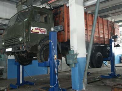 Подъемник подкатной четырехстоечный, г/п 10 тонн ИНКОСТ П1019.4