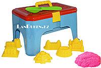Кинетический песок розовый (~ 1 кг) в контейнере Стульчик + Игрушки