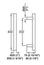 Ручка для стеклянной двери, сталь, матовая, 25х400 мм - фото 2