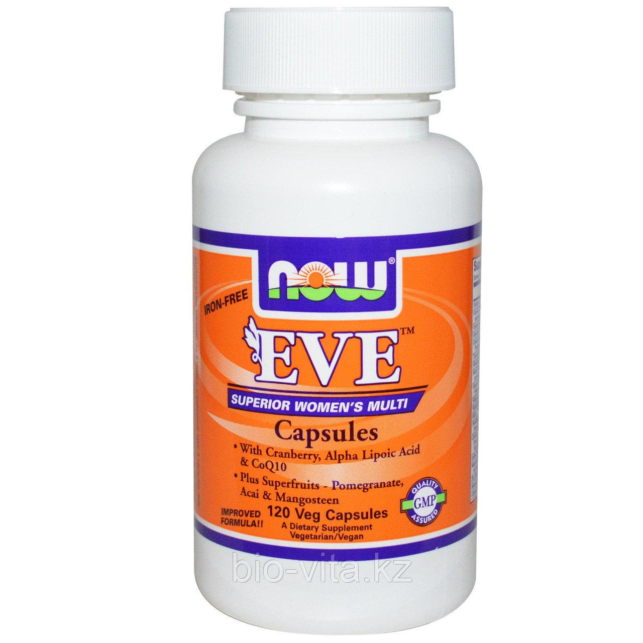 Мультивитамины для женщин в капсулах, без железа, 120 вегетарианских капсул. Eve. ЕВА. Now Foods