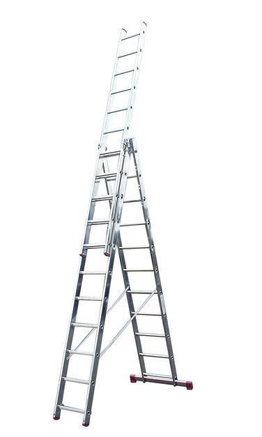 Лестница алюминиевая, трехсекционная, KRAUSE CORDA