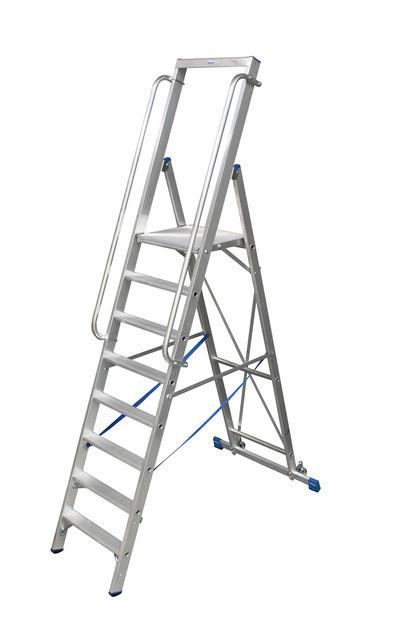 STABILO Лестница - стремянка, оборудованная большой площадкой и поручнем