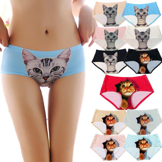 Трусики для женщин с 3D печатью кошки