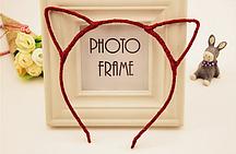 Ободок с Ушками металлический блестящий (красный)