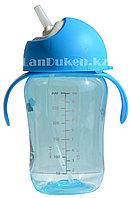 Детская бутылочка 300 мл с мерными делениями (голубая)