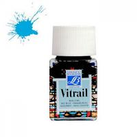 "Краска лаковая прозрачная по стеклу ""Vitrail"" №028 Небесно-голубая, 50мл."