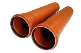 Труба канализационная д110х1000 оранжевая КОНТУР для наружных работ