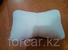 Подушка под шею «ЭКОКОЖА» черный/белый/белый