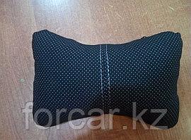 Подушка под шею «ЭКОКОЖА/ЖАККАРД» черн/т.сер/серый