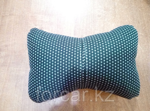 Подушка под шею «ЭКОКОЖА/ЖАККАРД» черн/т.сер/серый , фото 2