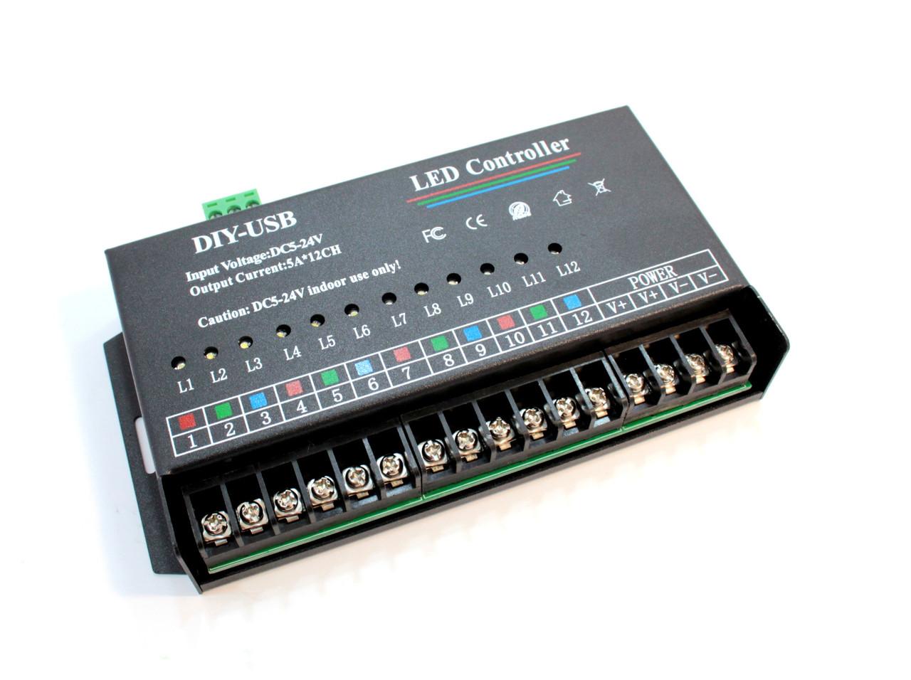 12-ти канальный программируемый контроллер 720W12V-M12Q-USB