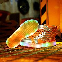 LED Кроссовки детские со светящейся подошвой, оранжевые крылья, фото 1