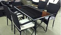 Комплект мебели (стол металлический с черным стеклом (складной) и 4 стула , фото 1