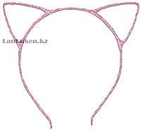 Ободок с Ушками металлический блестящий (розовый)