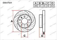 Тормозной диск GERAT Audi A3. 8P 2003-2012 1.9TDi / 2.0TDi