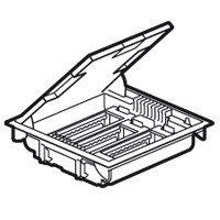 Напольная коробка, горизонтальная, 18 модулей, крышка из стали с анти-коррозионным покрытием, цвет серый