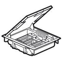 Напольная коробка, горизонтальная, 12 модулей, крышка под ковровое/паркетное покрытие, цвет серый