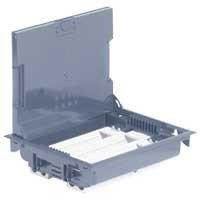 Напольная коробка, горизонтальная, 24 модуля, крышка под ковровое/паркетное покрытие, цвет серый