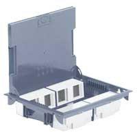Напольная коробка, горизонтальная, 16 модулей, крышка под ковровое/паркетное покрытие, цвет серый