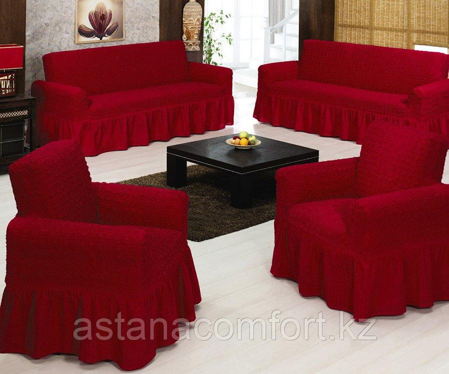 Натяжные чехлы на диван большой и 2 кресла. Цвет - бордо.