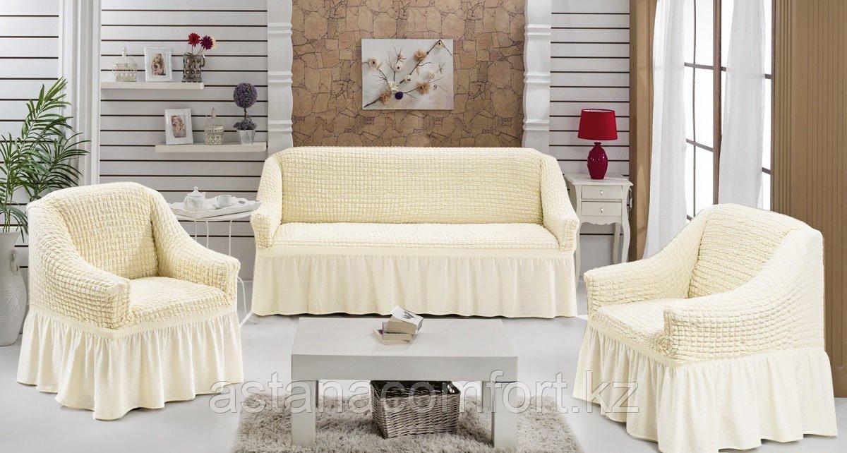 Натяжные чехлы на диван большой и 2 кресла. Цвет - молочный