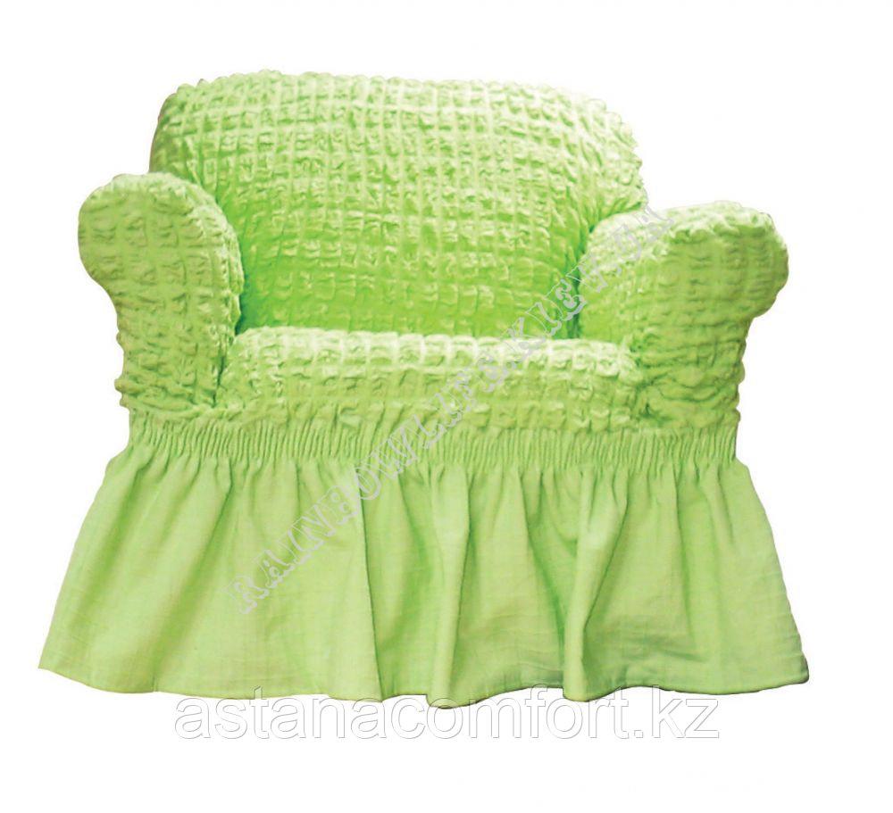 Натяжные чехлы на диван большой и 2 кресла. Цвет - фисташковый.