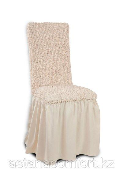 Универсальные натяжные чехлы на стулья. Цвет - молочный