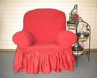 Натяжные чехлы на диван большой, диван малый и кресло. Цвет розовый
