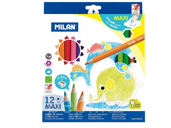 Карандаши Milan 12цв. Maxi толстые + точилка