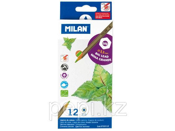 Карандаши Milan 12цв. широкий грифель 3,3мм