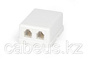 Hyperline SB-2-6P4C-C2-WH Розетка телефонная RJ-12(6P4C), двойная, внешняя, белая
