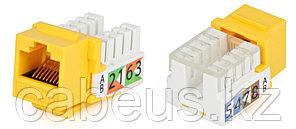 Hyperline KJ2-8P8C-C5e-90-YL Вставка Keystone Jack RJ-45(8P8C), категория 5e, Dual IDC, желтая