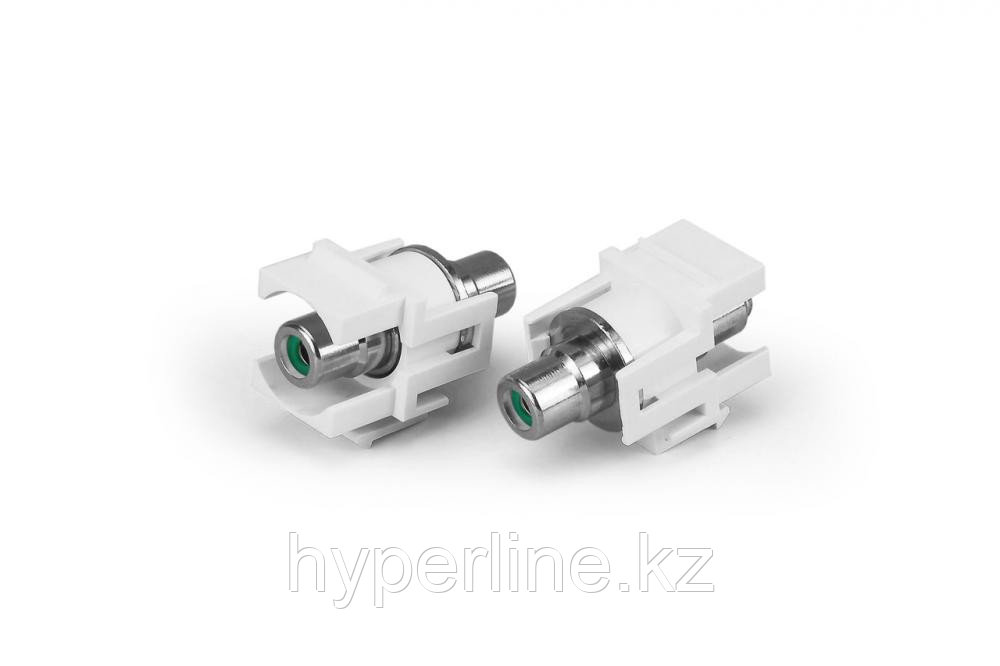 Hyperline KJ1-RCA/GN-D-WH Вставка формата Keystone Jack с проходным адаптером RCA (зеленый), D type, ROHS,