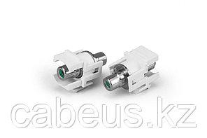 Hyperline KJ1-RCA/GN-D-WH Вставка формата Keystone Jack с проходным адаптером RCA (зеленый), D type, ROHS, белая